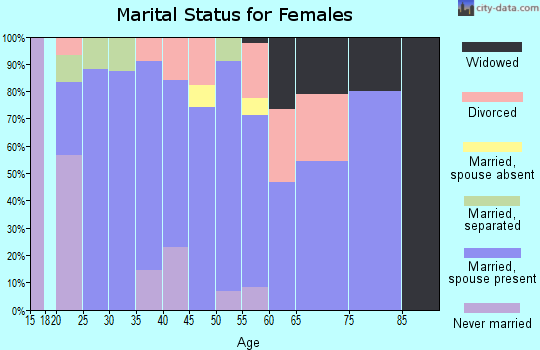 Zip code 45382 marital status for females