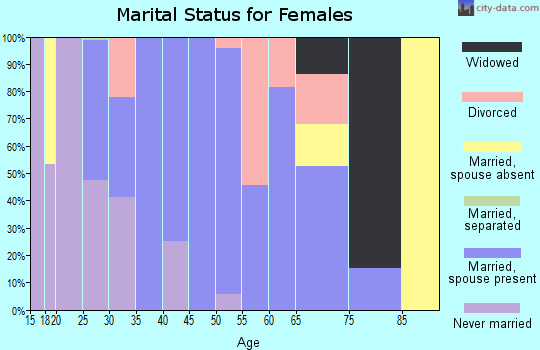 Zip code 45616 marital status for females