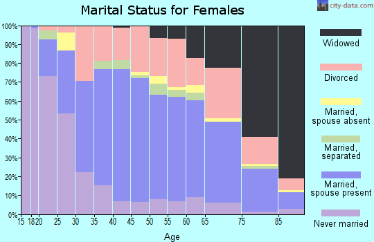 Zip code 45638 marital status for females