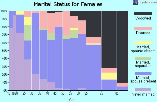 Zip code 45661 marital status for females