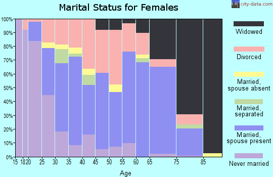 Zip code 45680 marital status for females