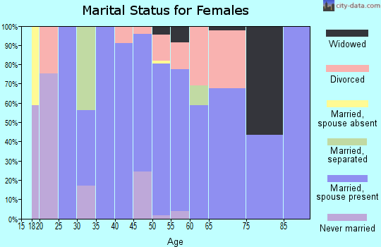 Zip code 45684 marital status for females