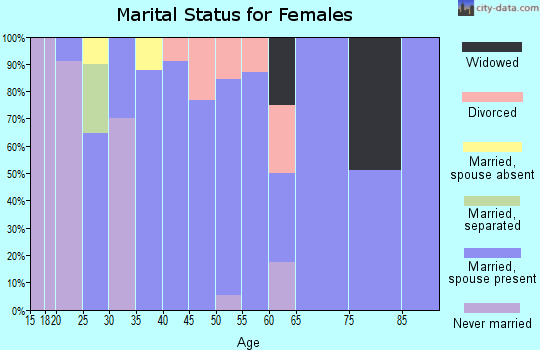 Zip code 45784 marital status for females