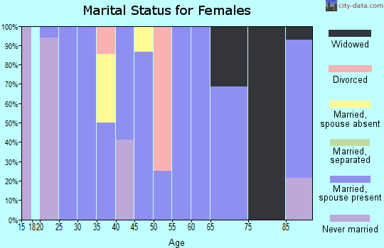 Zip code 45851 marital status for females