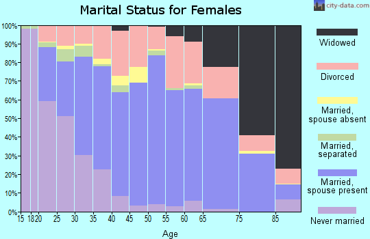 Zip code 46041 marital status for females