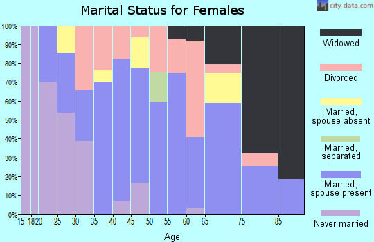Zip code 46051 marital status for females