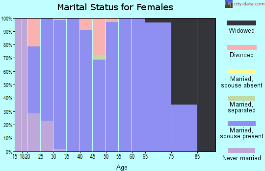 Zip code 46133 marital status for females