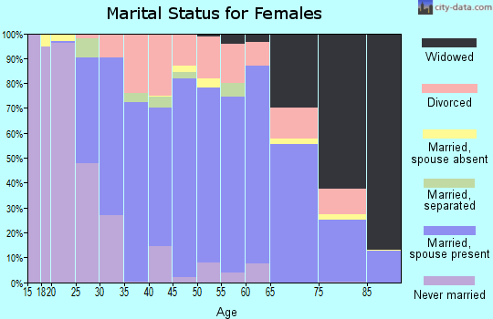 Zip code 46135 marital status for females