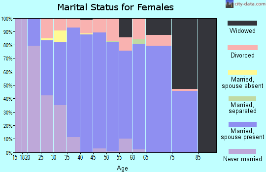 Zip code 46163 marital status for females