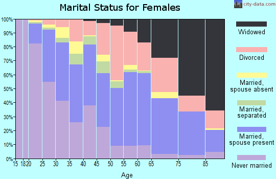 Zip code 46203 marital status for females
