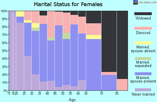 Zip code 46303 marital status for females