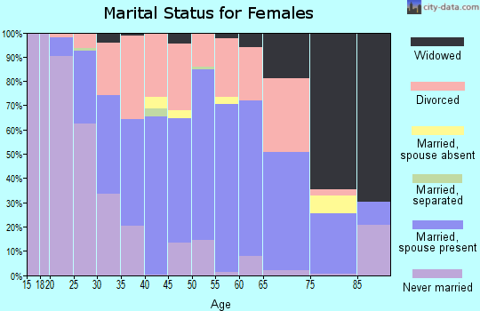 Zip code 46319 marital status for females