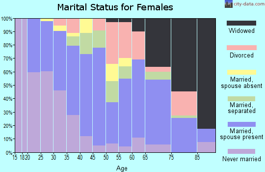 Zip code 46327 marital status for females