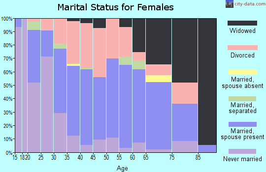 Zip code 46405 marital status for females