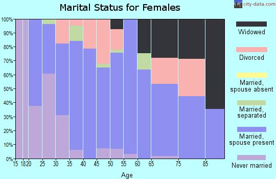 Zip code 46555 marital status for females