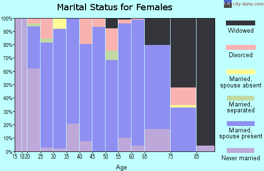 Zip code 46565 marital status for females