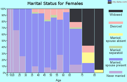 Zip code 46573 marital status for females