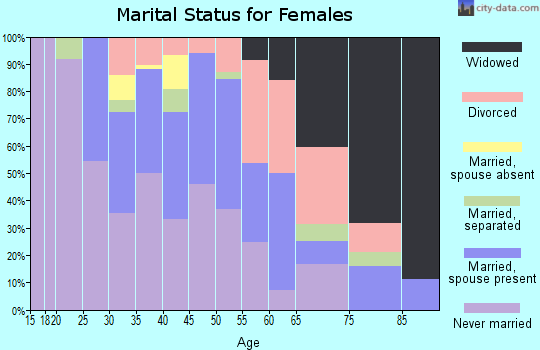 Zip code 46616 marital status for females