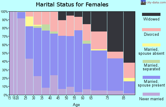 Zip code 46637 marital status for females