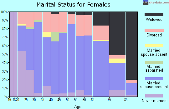 Zip code 46714 marital status for females