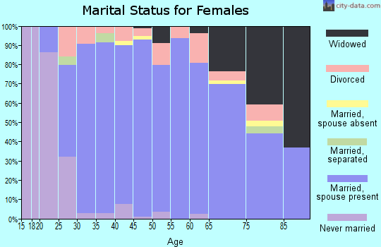 Zip code 46845 marital status for females