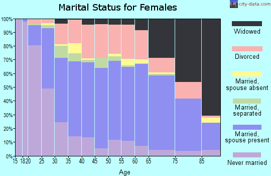 Zip code 46901 marital status for females
