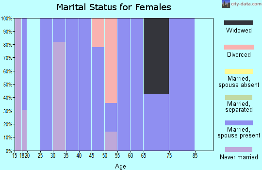 Zip code 46920 marital status for females