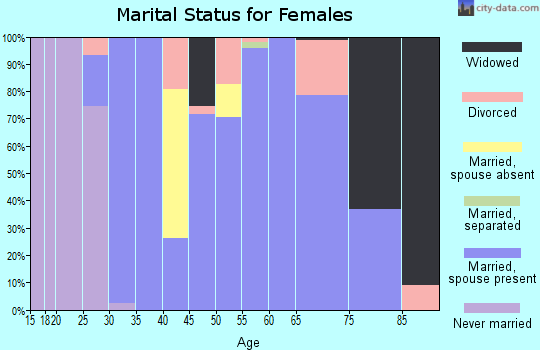 Zip code 46951 marital status for females