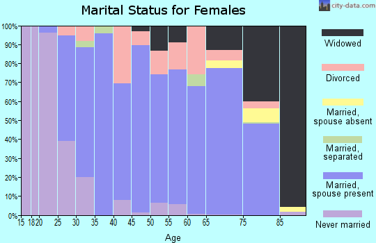 Zip code 46962 marital status for females