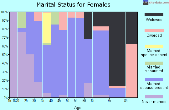 Zip code 46974 marital status for females