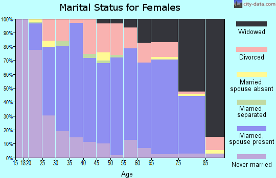 Zip code 46975 marital status for females