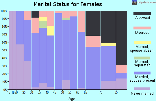 Zip code 46994 marital status for females