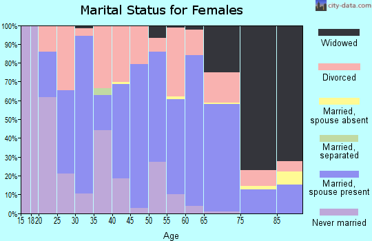 Zip code 47043 marital status for females