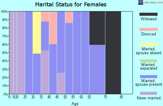Zip code 47177 marital status for females