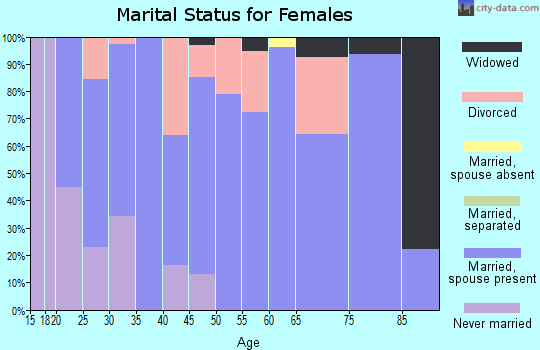 Zip code 47345 marital status for females