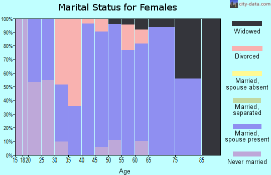 Zip code 47384 marital status for females