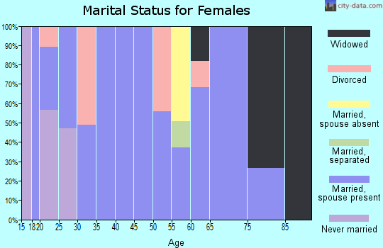 Zip code 47564 marital status for females