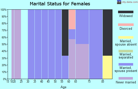 Zip code 47683 marital status for females