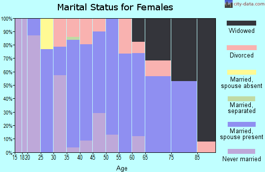 Zip code 47963 marital status for females