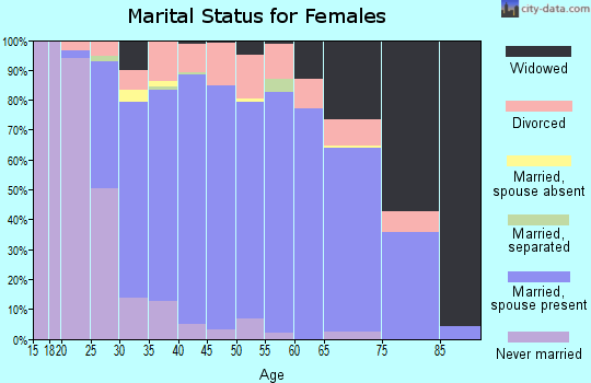 Zip code 48650 marital status for females