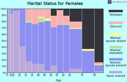 Zip code 48658 marital status for females