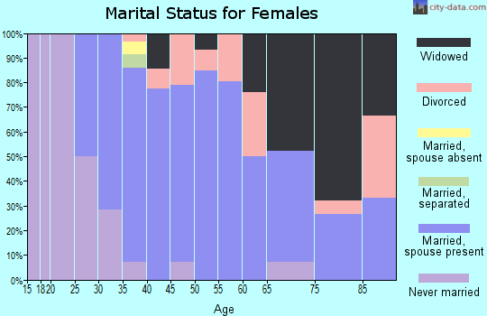Zip code 48729 marital status for females