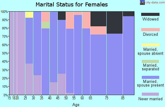 Zip code 49088 marital status for females