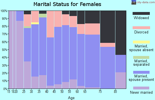 Zip code 49097 marital status for females