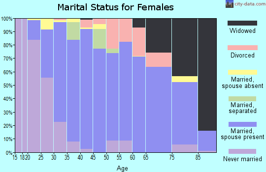 Zip code 49404 marital status for females