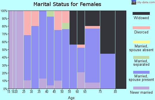 Zip code 52720 marital status for females