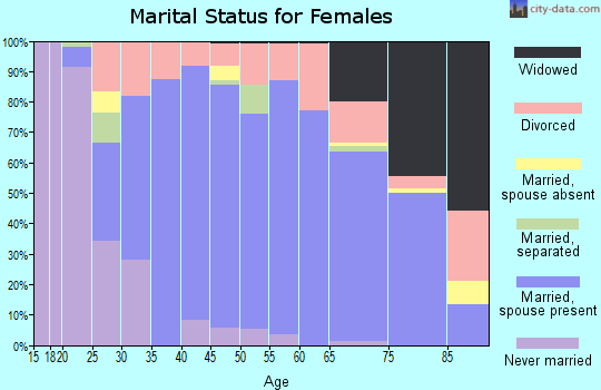 Zip code 53168 marital status for females
