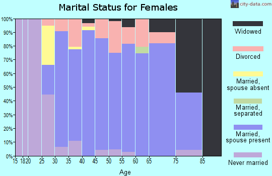 Zip code 55032 marital status for females