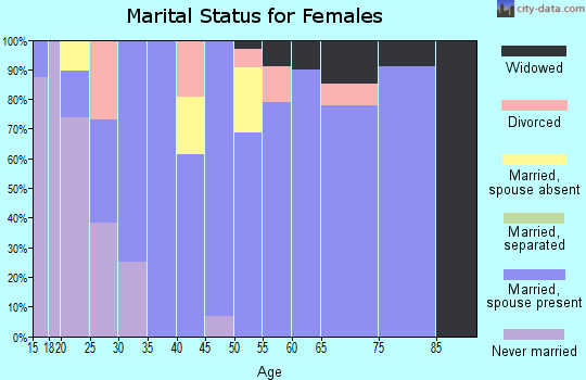 Zip code 55957 marital status for females