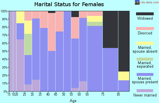 Zip code 55983 marital status for females